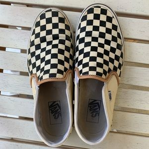 Black and white checkered Vans with tan detail